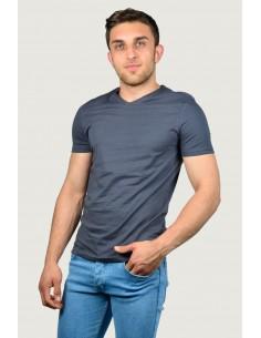 Erkek V Yaka T-Shirt Antrasit